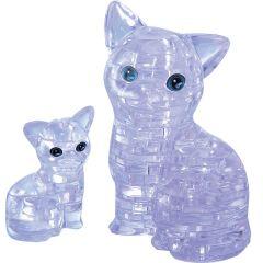 Kolmiulotteinen kissa & kissanpentu palapeli. Pakkauksessa kaksi kissaa, jotka ovat purppuran väriset.