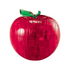 Kolmiulotteinen omena palapeli. Omena on väriltään punainen, varren ja lehden väri on vihreä.