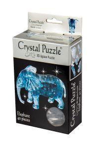 Kolmiulotteinen elefantti palapeli. Palapelin väri on sininen.