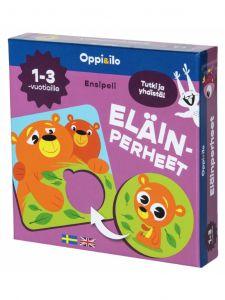 Pakkaus sisältää kortit suloisilla eri eläinperheiden kuvilla.
