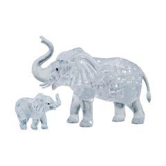 Kolmiulotteinen elefantti ja poikanen palapeli. Palapeli on väriltään vaalea/läpinäkyvä.