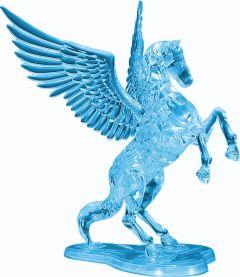 Kolmiulotteinen lentävä hevonen palapeli jalustalla. Hevonen ja jalusta ovat väriltään siniset.