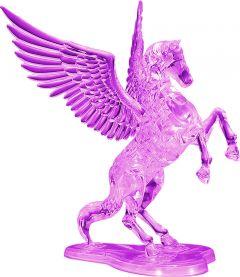 Kolmiulotteinen lentävä hevonen palapeli jalustalla. Hevonen ja jalusta ovat väriltään violetteja.