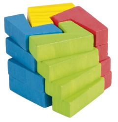 Kuvio muodostuu sinisen, keltaisen, punaisen ja vihreän värisistä paloista.