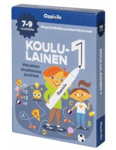 Pakkaus sisältää erilaiset tehtäväkortit ja pyyhittävän tussin.