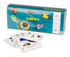 Kortista näet suomenkielisen nimen lisäksi linnun latinankielisen nimen.