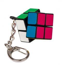 Kaksi kertaa kaksi avaimenperä pulmakuutio. Pulmakuution sivujen värit ovat: Valkoinen, vihreä, punainen, sininen, keltainen ja lila.