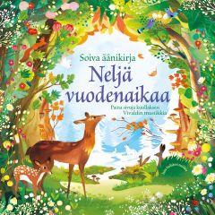 Neljä vuodenaikaa -kirjan kansikuvassa piirretty metsämaisema ja eläimiä