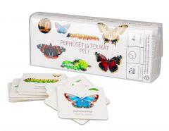Kortista näet suomenkielisen nimen lisäksi perhosen tai toukan latinankielisen nimen.