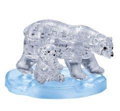 Kolmiulotteinen jääkarhu ja poikanen palapeli. Palapelin mukana tulee jäätä mallintava jalusta. jääkarhut ovat sinertäviä väriltään. Jalusta on vaaleansininen.