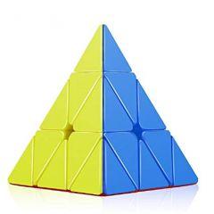 Pyramidin muotoinen pulma. Pulman sivujen värit ovat sininen, punainen, vihreä ja keltainen.
