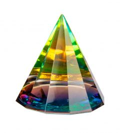 Diamond cut glass pyramid