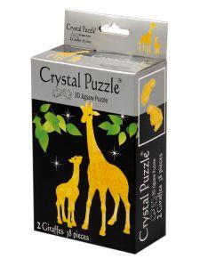Kolmiulotteinen kirahvi palapeli, joka sisältää kirahvin ja poikasen. Palapelin väri on keltainen.