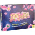 Pakkauksessa hauskan näköiset pelilaudan palat pinkillä ameballa sekä tumanappulat.