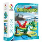 Avattu pakkaus sisältää pelilaudan, saaren muotoiset laatat joilla oleilee joko vihreä Brontosaurus tai punainen Tyrannosaurus.