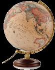 Karttapallo 30 cm antiikki, pähkinäpuujalka