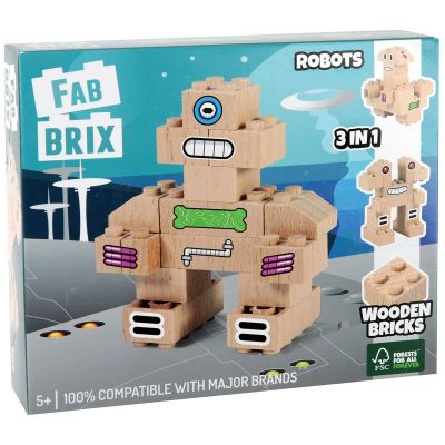 Fabbrix Robotit 19 osaa, Wooden Bricks 100% compatible with major brands